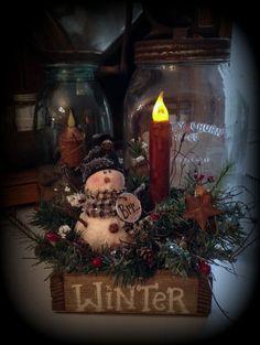 No Sew Winter Snowman Box with Timer Taper Candle Primitive Snowman Pattern Primitive Christmas Crafts, Prim Christmas, Primitive Snowmen, Country Christmas, Christmas Projects, Holiday Crafts, Christmas Wreaths, Christmas Ornaments, Christmas Boxes
