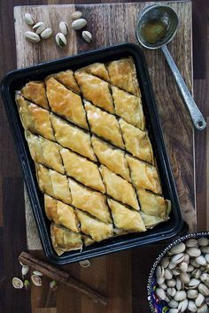 A walnut and pistachio baklava with a lemon and honey syrup | drizzld.com