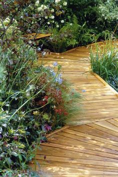 Boardwalks can be built anywhere in the yard at ground level or raised to span wet areas that are difficult to walk on. They can be straight and functional or meander gently among heavy garden plantings. Garden Landscape Design, Landscape Architecture, Garden Landscaping, Outdoor Living, Outdoor Decor, Outdoor Ideas, Outdoor Spaces, Garden Paths, Veg Garden