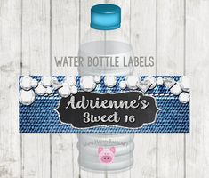 Printable Water Bottle Labels, Printable Denim and Diamonds Water Bottle Label, Denim & Diamond Party Favor, Denim and Diamond Bottle Labels Printable Invitations, Printables, Printable Water Bottle Labels, Diamond Party, Denim And Diamonds, Photo Booth Frame, Party Photos, Print And Cut, Happy Shopping