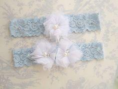 Wedding Garter Blue Garter Set with Toss Garter by nanarosedesigns, $18.00