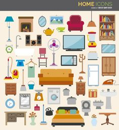 This set of flat icons includes most important home elements including home appliances, furnitures and much more!Under Commons Bg Design, Flat Design, Icon Design, Booth Design, Flat Illustration, Illustrations, Home Icon, Flat Ideas, Digital Art Tutorial