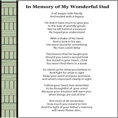 Funeral poem for dad from daughter