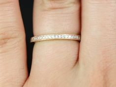 Victoria 14kt Rose Gold Thin Milgrained Pave Diamond by RosadosBox, $695.00