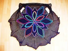 Embroidered Multicolor Petals Mandala Crochet Vest by babukatorium