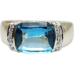 4.77CTW Blue Topaz & Diamond Cocktail Ring in 10k Yellow Gold - found at www.rubylane.com - This item currently selected for the Ruby Red Tag Fall into Savings 30% off Sale which starts Friday, 9/23/16 at 8 am Pacific time! Preview the sale items at https://www.rubylane.com/search?types=redtag