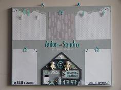 """Pêle mêle photos pour la naissance de jumeaux, Anton et Sandro, sur le thème """"ange et plume"""" aux couleurs de leur chambre"""