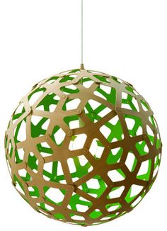 David Trubridge Coral 400 Pendant Lamp, Green modern pendant lighting