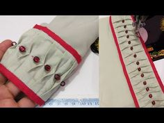 Baju ki mohri ka design/ latest sleeves design/ baju ke naye design- 175-YouTube - YouTube Chudi Neck Designs, Salwar Neck Designs, Neck Designs For Suits, Kurta Neck Design, Kurta Designs Women, Dress Neck Designs, Sleeve Designs, Kurti Sleeves Design, Sleeves Designs For Dresses