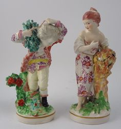 These are a fine pair of Derby porcelain figures of Summer and Winter from the French Seasons set.  Both are in nice condition, Winter just has a few small chips to the faggots and bocage and a minor nick to the base whereas Summer has a few nibbles to the sheaf and the bocage.  We can't detect and restoration to either piece.  They date to c1780 - 1790 and really do make a nice pair together.  Both figures have incised marks with Winter also having fairly distinct patch marks.