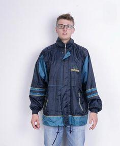 Adidas Mens 4XL Jacket Navy Blue Sport Waterproof Vintage 90s