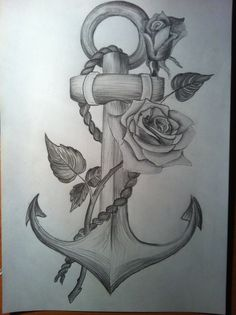 Anchor with a rose time-lapse drawing - YouTube
