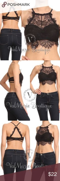 Elegant Black Lace Bralettes Lace bralette with a solid lining, adjustable spaghetti straps, high Lace neck, and racerback. Has light padding!   95% Nylon, 5% Spandex - fits true to size. One size fits most realistically best for A, B or C cups. Please ask any questions. Price absolutely firm unless bundled. ValMarie Boutique Intimates & Sleepwear Bras