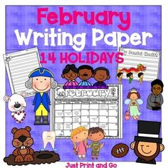 February Writing Paper: 14 Holidays