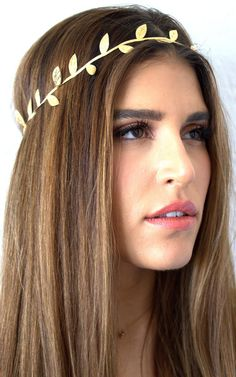 Delicate gold leaf headband goddess headband by VibeJewels on Etsy, $12.00