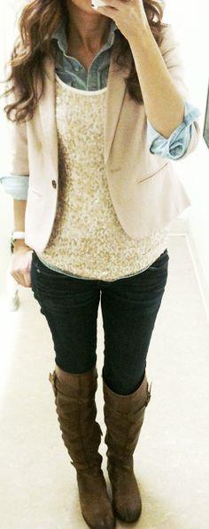 blazer, boots, sequin shirt