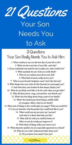 21 Questions You could ask your kids not just sons Gentle Parenting, Parenting Advice, Kids And Parenting, Parenting Classes, Peaceful Parenting, Parenting Quotes, Natural Parenting, Best Mom, The Best