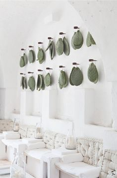 Prickly pear (Opuntia ficus-indica) leaves (cladodes) hang as decoration in total-white main room, Masseria Cimino, Puglia, Italy Decoration Restaurant, Deco Restaurant, Restaurant Design, Cactus Restaurant, Commercial Design, Commercial Interiors, Design Hotel, House Design, Spa Interior Design