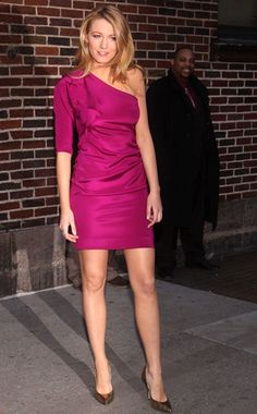 Blake shows off her gams in a Diane von Furstenberg fuchsia one-sleeve minidress and Jimmy Choo stilettos outside the Late Show With David Letterman.