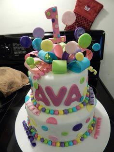 2 Tier Polka Dot 1st birthday cake