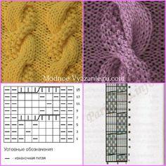 Описание и схемы для вязания модных шапок спицами - Modnoe Vyazanie ru.com Crochet Stitches Patterns, Knitting Stitches, Stitch Patterns, Knitting Patterns, Yarn Projects, Mittens, Knitted Hats, Knit Crochet, Sweaters For Women