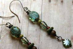 Long Elegant Beaded and Copper Dangle by AllowingArtDesigns, $18.00