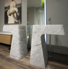 Boasting beauty and brawn, this White Carrara marble pedestal sink is that touch of luxury bathrooms beg for. The Ciuri sink by Italian company Lithea Marble Furniture, Bathroom Furniture, Restroom Design, Bathroom Interior Design, Washbasin Design, His And Hers Sinks, Italian Interior Design, Toilet Accessories, Pedestal Sink