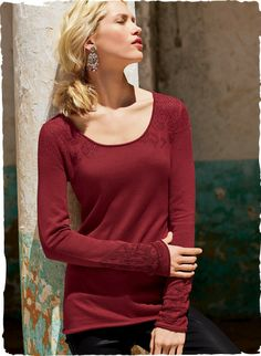 It's the delicate, feminine details—the floral lace knit accents at the neckline, yoke, shoulders and cuffs—that make our demure scoop neck top such a unique find. Full-fashion knit of softest pima.