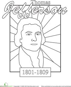 Worksheets: Color a U.S. President: Thomas Jefferson
