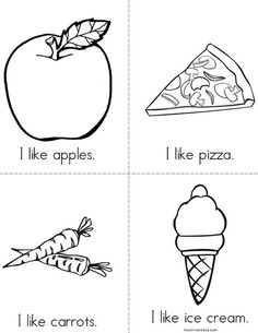 I Like (food) Book - Twisty Noodle Food Coloring Pages, Coloring Books, Learning Support, Letter Of The Week, Kids Pages, Preschool Activities, Spanish Activities, Emergent Readers, Pre Writing