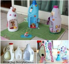 DIY - Milk Jug Fairy house   Transform old milk , orange , juice plastic containers into cute fairy houses + an added bonus how to make mini fairy wings   Daw's Note  Im a Guy and I would make this maybe even use other natural materials like seashells, or stones or bark or moss on the outside of the fairy house. Your imagination is your only limit so get out there and start being crafty