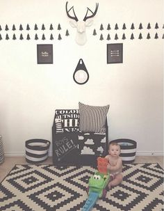 Take a peek at how one of our clients @isabelcxoxo has used The Maud, our large white faux deer head with black antlers, to decorate her son's nursery! It looks great!