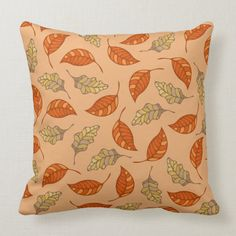 Shop Orange Leaves Throw Pillow created by Vibesofcolor. Orange Leaf, Orange Color, Halloween Pillows, Thanksgiving Gifts, Succulents Diy, Custom Pillows, White Elephant Gifts, Fall Halloween, Halloween Decorations