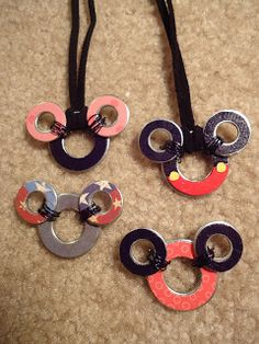 mickey washer necklaces or keychain with instructions love it! must try! #ecrafty