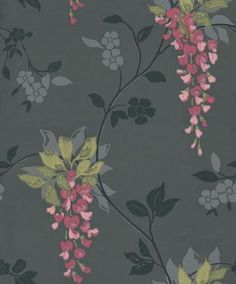 Albany Catwalk (96972) - Albany Wallpapers - A beautiful floral trailing wisteria design with surface print effects in black with grey and soft shades of pink for the flowers. Other colour ways also available. Please request a sample for true colour match.