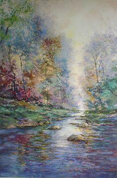 Artist: Michael Schofield; Title: Waldenthorpe Creek, c1980s; Medium: offset lithograph fine art print