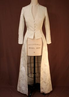 Ivory Brocade Long, Fitted Edwardian Wedding Coat. $398.00, via Etsy.
