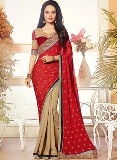 Sari with Embroidered Pallu presented by Andaaz Fashion like Beige Red Georgette Satin Saree with Maroon Silk Blouse. Embellished with Embroidered, Zari, U Neck Blouse, Half Sleeve, and Jacquard Georgette Pallu with Raw Silk Blouse. Indian Designer Sarees, Indian Sarees Online, Latest Designer Sarees, Net Saree, Georgette Sarees, Lehenga Choli, Velvet Saree, Satin Saree, Beau Sari