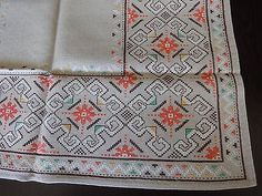 Beautiful Vintage Hand-Embroidered Linen Square Multi-Color Tablecloth