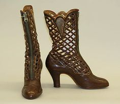 """Lattice boots, late 1910s- late 1920s, labeled, """"Exclusively, Saks, Herald Square, Made in Belgium"""""""
