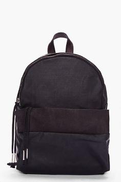Silent By Damir Doma Black Leather Trimmed Bango Backpack for Men | SSENSE