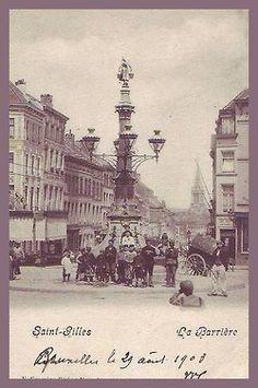 Bruxelles, le 29 août 1903 - Saint-Gilles - La Barrière  Carrefour situé à l'intersection de la ch. de Waterloo, de l'av. Paul Dejaer, de la ch. d'Alsemberg, de l'av. du Parc, de la r. Théodore Verhaegen et de la r. de l'Hôtel des Monnaies, la Barrière est l'un des lieux-dits les plus anciens de la commune.  L'appellationBarrièrefait référence à un péage à barrière qui y était situé.Sur chacune des chaussées était placée une barrière mobile. Un petit bâ