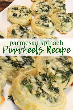 Check out this Creamy Spinach Roll Ups Recipe for the Super Bowl Game Day Parties! Mini Bite Size Snacks for The Big Game! Spinach Appetizers, Cheese Appetizers, Appetizers For Party, Appetizer Recipes, Creamy Spinach Roll Ups Recipe, Spinach Rolls, Spinach And Cheese, Parmesan, Vegetarian Recipes