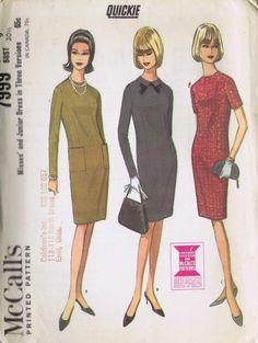 "Dress Sheath VINTAGE 1960s Sewing Pattern 7999 MCCALLS SZ 16 BUST 36 HIP 38"" CUT"