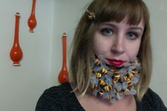 DIY beebeard costume. #beebeard #diy #costume I used the template for this felt beard but cut off the mustache and mouth wisps, then hot glued fake bees to it http://makezine.com/craft/how-to_make_a_fake_beard/