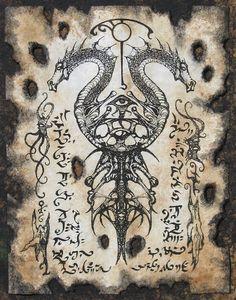 VOORISH sello Cthulhu larp Necronomicon pergaminos hechicería oscura oculta magick