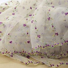 1 Yard Fashion Embroidery Floral Lace Fabric White Organza Flowers 4 Colors Mayitr for Wedding Bridal Home Decoration Width Embroidered Lace Fabric, Muslin Fabric, Floral Fabric, Floral Lace, Bridal Fabric, Wedding Fabric, Wedding Dress, Diy Accessoires, Rose Lace