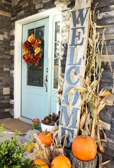 Beautiful Fall Front Porch....could change the decor for the seasons
