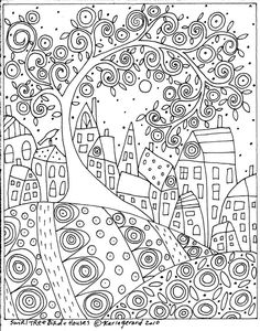 Rug Hook Craft PAPER PATTERN Swirl Tree Bird and Houses FOLK ART ABSTRACT KarlaG