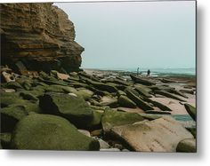 """""""Low Tide"""" California beach landscape photography on metal print by Valerie Rosen Photography"""